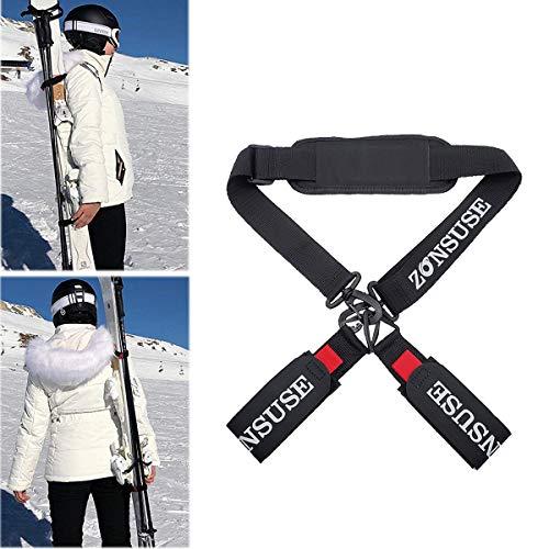 ZONSUSE Ski-Schultergurte, Ski Strap,Verstellbar Ski-Band für Skier,Skistöcke, Skischuhe,Winter Ski Zubehör,Reise und Aufbewahrung,Arbeitsersparnis,für leichten Transport