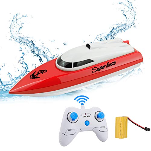 RC Boat Remote Control Boats for Pools and Lakes, STOTOY Racing Electric Boat 2.4GHz 14km/h Mini Remote Boat Toys Indoor/Outdoor for Kids Boys Girls (Only Works in Water)
