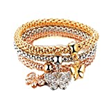 fenical bracciale donna micro-intarsio elastico popcorn catena mais farfalla diamante ciondolo in lega tricolore bracciale set 3 pezzi