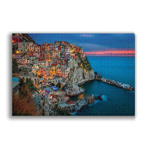 Jigsaw Puzzle 1000 Piece for Adults & Kids, Italy Cinque Terre Puzzles Intellectual Decompressing Fun Family Game Large Puzzle Game Toys Gift