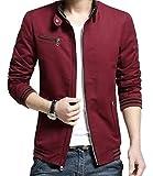 ジャケット メンズ アウター トップス コート カジュアルジャケット おしゃれ ブルゾン メンズファッション 秋 冬 春 レッド 赤 L