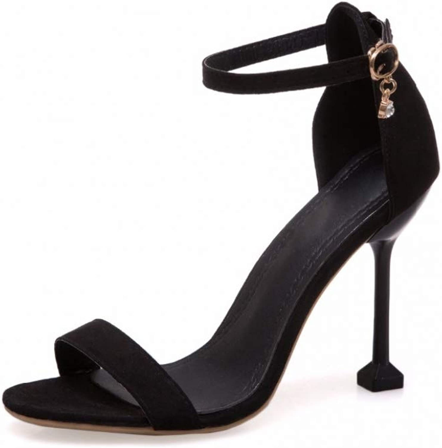 Women High Heels Sandals Concise Suede Summer Party Pump shoes Ankle Strap Ladies Sexy Footwear