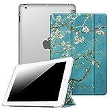 FINTIE Funda para iPad 4/3/2 - Trasera Transparente Mate Carcasa Ligera con Función de Soporte y Auto-Reposo/Activación, Flores