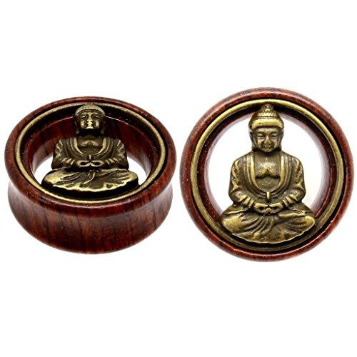 Oasis Plus Brass Buddha Organic Wood Tunnels Double Flared Ear Stretcher Saddle Plugs Gauge 12mm