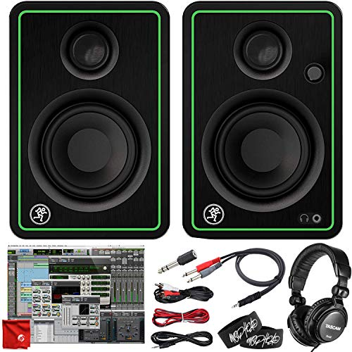 Mackie CR3-X 3-Inch Creative Reference Multimedia Monitors Bundle with Pro Tools First DAW Music Editing Software, Closed-Back Professional Studio Headphones, Dual 1/4' Stereo to 3.5mm Cable