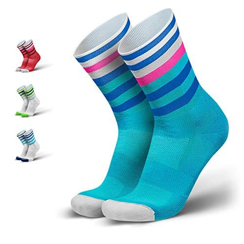 INCYLENCE Levels gepolsterte Laufsocken lang, Running Socks, atmungsaktive Sportsocken mit Anti-Blasen Schutz, Kompressionsstrümpfe, blau, 39-42