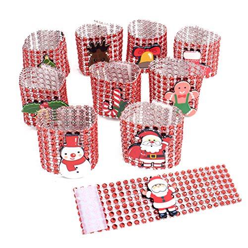 Anelli Portatovagliolo Portatovaglioli natalizi Portatovaglioli di Babbo Natale Portarotoli 10 pezzi Anelli portatovaglioli diamante argento / rosso Fibbie per decorazioni natalizie da tavola Red
