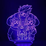 GEZHF 3D noche luz dibujos animados niños kakashi sasuke Sakura manga anime cómic amistad sensor lámpara luz 3D