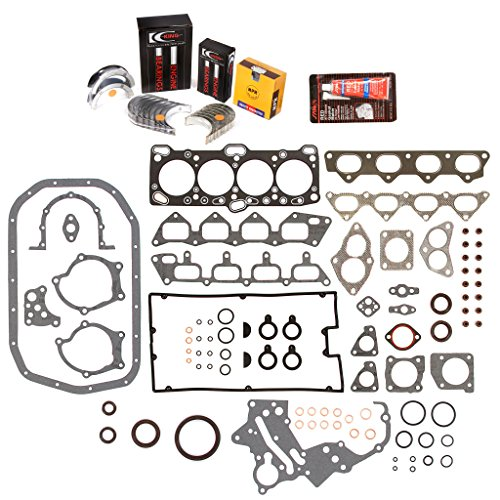 Evergreen Engine Rering Kit FSBRR5005 Compatible With 89-92 Mitsubishi Eagle Plymouth 2.0 4G63 4G63T Full Gasket Set, Standard Size Main Rod Bearings, Standard Size Piston Rings