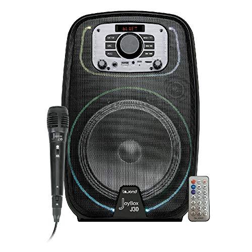 Biwond JoyBox J30 Altavoz 8'' Inalámbrico + Micrófono (10W RMS, RGB, Bluetooth TWS, 1800 mAh, Karaoke, FM, MicroSD, USB) - Negro