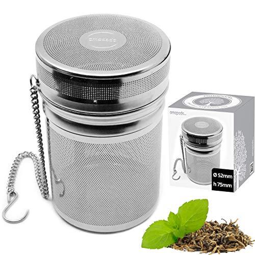 amapodo Teeei plastikfrei für losen Tee, Thermobecher Sieb mit Kette, Teesieb Ei Filter groß, Edelstahl Teebeutel Teefilter fein
