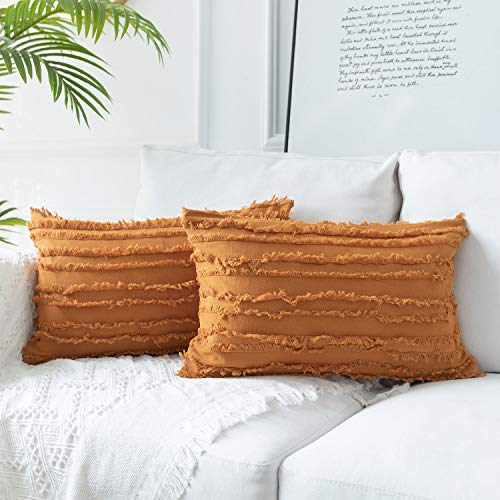 JUSPURBET Farmhouses Lumbar Pillow Covers with Cotton Linen Tassels Striped,Soft Decorative Pillow Cushion Case for Couch Bed Sofa,12x20 Inches,Rust