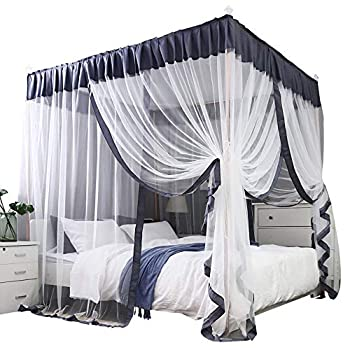 Mengersi Simple 4 Corners Post Curtain Bed Canopy Bed Frame Canopies Net- 4 Openings-Bedroom Decoration  Full Gray and White