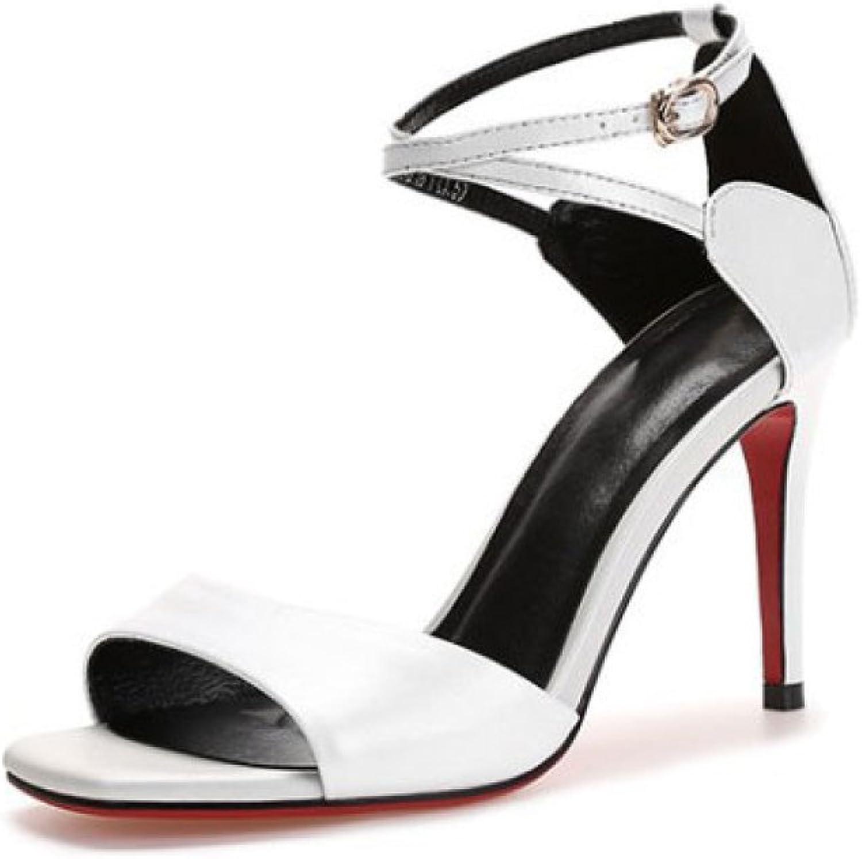 Damenschuhe, Neu, Echtes Leder, Sommer Sandalen, Stiletto, Runde, Mode, Ausschnitte, Flach, Sandalen