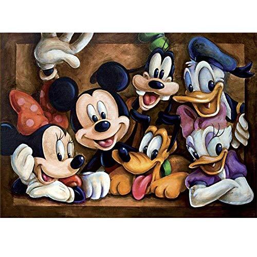 194Tdfc Pintar Por Numeros Para Adultos Niños Pintura Por Números Con Pinceles Y Pinturas Navidad Regalos-Minnie Y Mickey -16 * 20Pulgadas(Sin Marco)