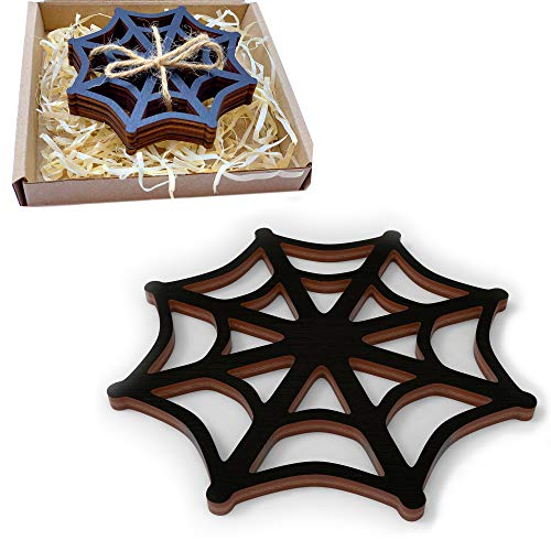 Marolen Black Spider Web Wooden Coasters - This Spooky Home Decor Includes 4 Spider Web Coasters - Great for Gothic Home Decor Lovers or as Halloween Decorations