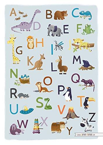 Poster ABC imprimé - format A3 - alphabet d'animaux - chambre pour enfant - poster décoratif ludique