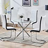 STYLIFING Dining Room Set Round Clear Glass Top Crisscrossing Chrome Metal Legs Kitchen Table and 4 Modern High Back White Faux Leather Chairs Home Kitchen Office Waiting Room Use