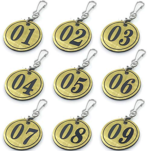 Ebamaz Kunststoff-Tür-/Schließfach/Ventil/Pflanzen/ID-Nummernschilder mit Schlüsselring, 50 Stück, goldfarben, 01-50