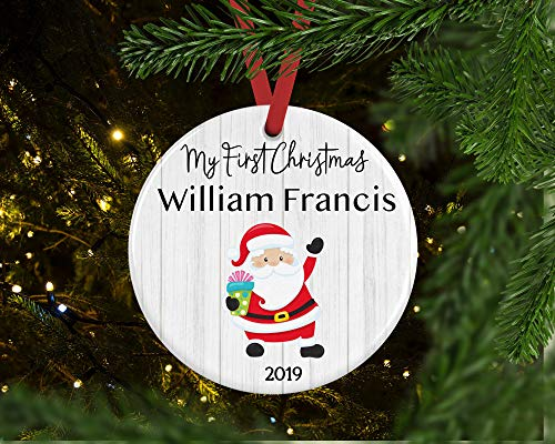 Lplpol Personalized Ceramics Ornament for Baby, Baby's First Christmas, Santa Christmas Ceramics Ornament With Name, for Baby, 3 inches