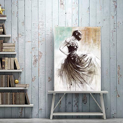 Abstrakte Ölgemälde auf Leinwand Wandkunst Tanz Mädchen Poster drucken Wohnzimmer Dekoration Wand rahmenlose Malerei 50x70cm