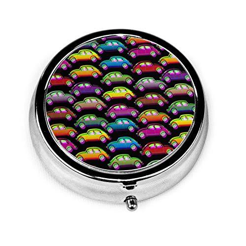 Cars-694 Custom Fashion Silver Round Square Pill Box Medicine Tablet Holder Wallet Organizer Case For Pocket Or Purse Vitamin Organizer Holder Decorative Box