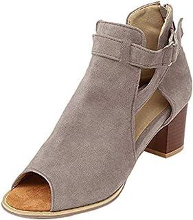 DODUMI Chaussures Femme Sandales Demi Talon Femmes Mode Sangle Boucle Ceinture Poisson Bec Pente Talon Chaussures Haut Talon Sandales Pantoufles Femme Coeur