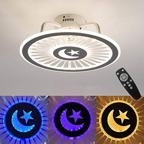 WOERD Ventilador de Techo con Luz Lámpara LED Ventilador Invisible Regulable con Control Remoto Moderna Lámpara De Techo Decoración Iluminación para Dormitorio Sala Comedor