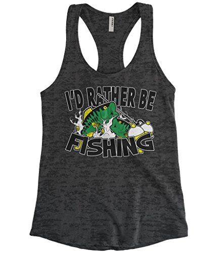 Cybertela Women's I'd Rather Be Fishing Burnout Racerback Tank Top (Black, Medium)