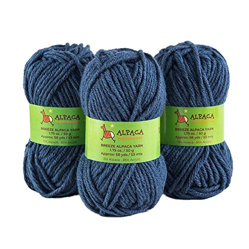 Blend Alpaca Yarn Wool Set of 3 Skeins Bulky Weight - Heavenly Soft and Perfect for Knitting and Crocheting (Steel Blue, Bulky)