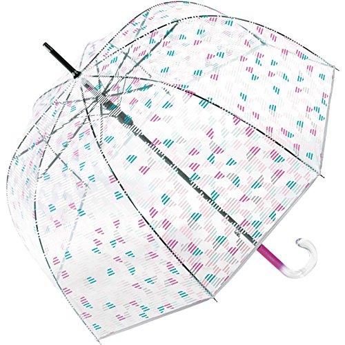 Esprit - Parapluie cloche transparente à motifs géométriques roses