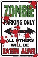 Zombie Parking メタルポスター壁画ショップ看板ショップ看板表示板金属板ブリキ看板情報防水装飾レストラン日本食料品店カフェ旅行用品誕生日新年クリスマスパーティーギフト
