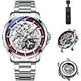 UNUORS Automatic Watches for Men, Full Hollow Out Stainless Steel Mens Mechanical Watches, Skeleton Tourbillon Self-Winding Men's Wrist Watches, Business Waterproof Mens Watch Chronograph
