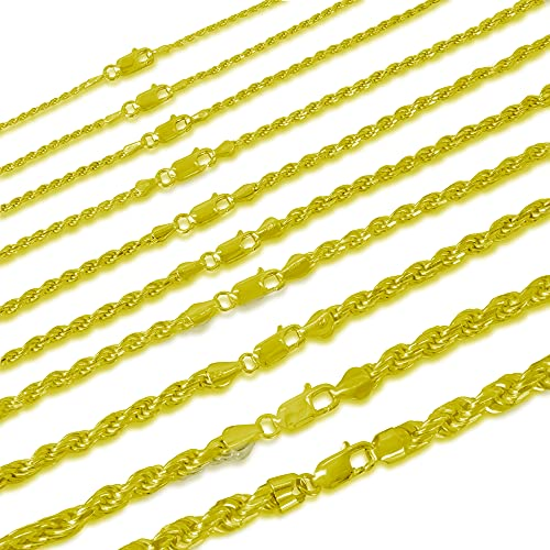 Sterling Silver 2mm diamond cut rope chain necklace- Made In Italy (Yellow  16)
