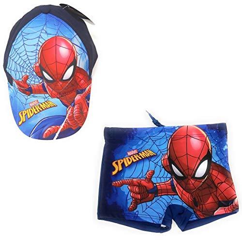 Spíderman Badeshorts im Boxer-Stil, für Strand oder Pool + Kappe aus Baumwolle für Kinder, Blau 8 Jahre