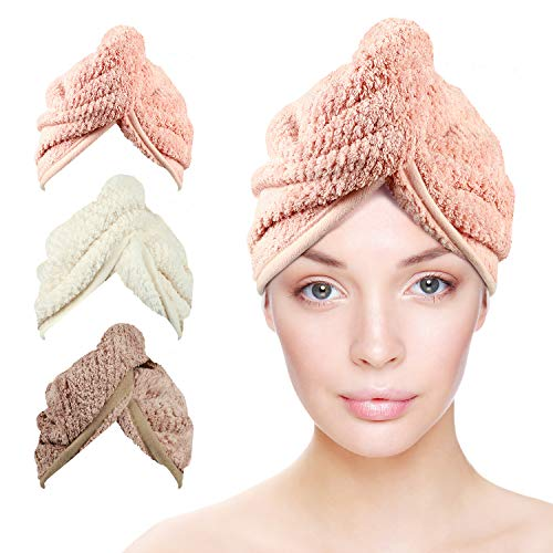 3 Pack Microfiber Hair Towel Wrap for Women, Fast Drying Hair, Super Absorbent Towel Turban, White, Pink, Brown