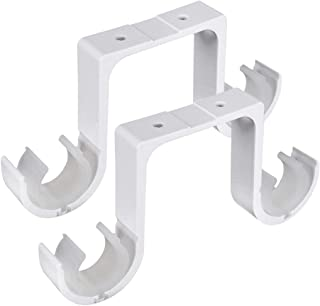 Enerhu 1 Pair Curtain Rod Brackets Drapery Pole Support Ceiling Mount Bracket White