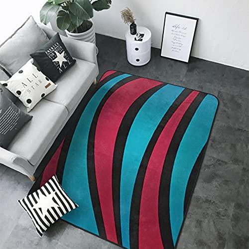 Alfombra y Felpudo Impresión 3D Rayas de Color Dormitorio Sala de Estar Habitación de Los Niños Pasillo Antideslizante Mesa y Silla Cojín Alfombra Decorativa 40X60 cm