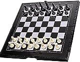 Conjunto de ajedrez portátil con Piezas de ajedrez magnético y diseño de Hebilla de Ranura para Tarjeta, Caja de Almacenamiento Transparente