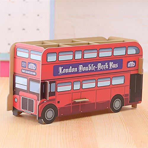 Sunfire creatieve potloodhouder schrijfwaren doe-het-zelf etui opbergdoos voor school kantoor bureau Decor student Kid Gift Double Decker Bus 22x9x12cm