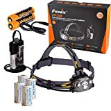 Fenix HP30R 1750 Lumen USB Rechargeable CREE XM-L2 and XP-G2 R5 LED Headlamp, 2X Rechargeable Li-ion Batteries, Micro USB Cable, 4LH123A Bundle (Iron Grey)