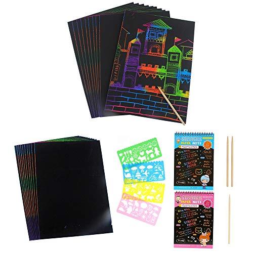 Kratzbilder Set 40 Große Blätter Kratzpapier zum Zeichnen und Basteln Scratch Paper mit Holzstiften Schablonen