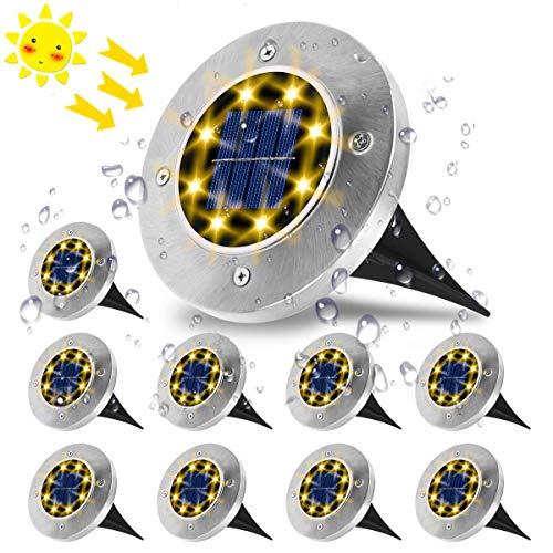 Luci Solari Giardino, VIFLYKOO Lampade da Giardino Solari 8LED Luci Led Solari da Esterno IP65 Impermeabile Luci Bianche Calde per Esterno,Scala,Prato,Strade,Vialetto - 10 Pezzi