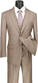 Men's Window Pane 2 Button Single Breasted Classic Fit Wool Feel Suit W/Vest V2RW-15