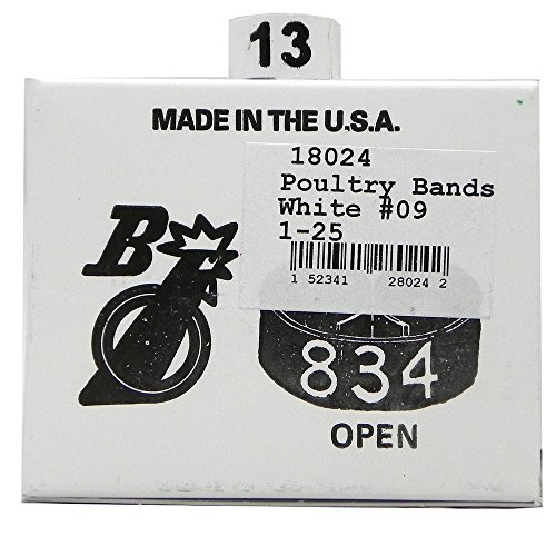Poultry Numbered Leg Bands White Size 9 Numbered 1-25