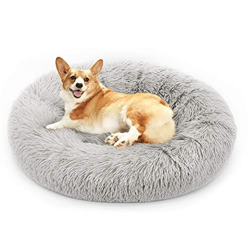 Fangqiyi Redondo Cama Mascotas Cama para Perros Donut Cremallera Inferior Que se Puede Quitar y Lavar,para Mascotas Gatos y Perros Pequeños Gris,100 * 100cm
