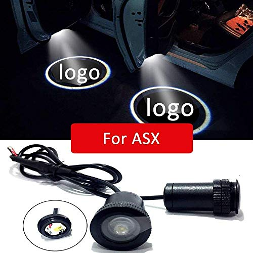 Logo 2pcs Puerta del coche llevó la luz de los bajos de luz del proyector, for Mitsubishi ASX 2018 2017 2011 del emblema del coche inalámbrica Bienvenido Lámparas Car Styling accesorios de la decoraci