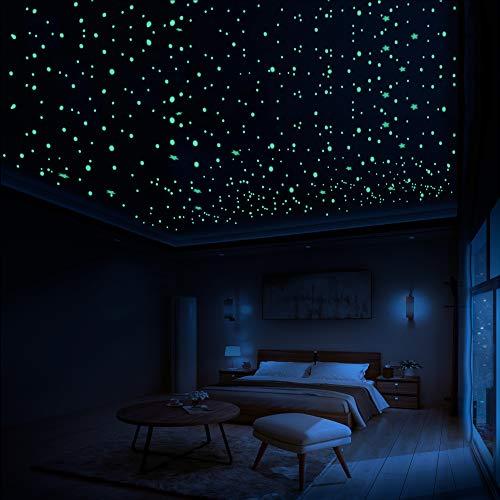 LUMOSX Glow in The Dark Stars for Ceiling Decor - 822 pcs 3D Domed Glow in The Dark Stickers Ceiling Stars w/Bonus Constellation E-Book   Glow Stars, Star Ceiling for Kids Room Decor Kids Wall Decor