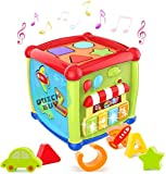 6 in 1 Multi-function: The baby activity center with multiple shapes sorter include vehicles blocks, geometric blocks, alphabet blocks, mirror & a clock, music playing center, it can help your baby master their motor skills, attract your baby's atten...