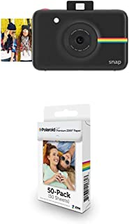 Polaroid Digitale Instant Snap Kamera mit ZINK Zero Ink Technologie, 50 Pack Papierbündel, Schwarz